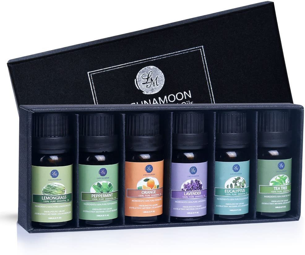 Lagunamoon Aceites Esenciales, Top 6 Set de Regalo de Aceites de Aromaterapia de Lavanda Eucalipto Hierba de Limón Menta Arból de Té y...
