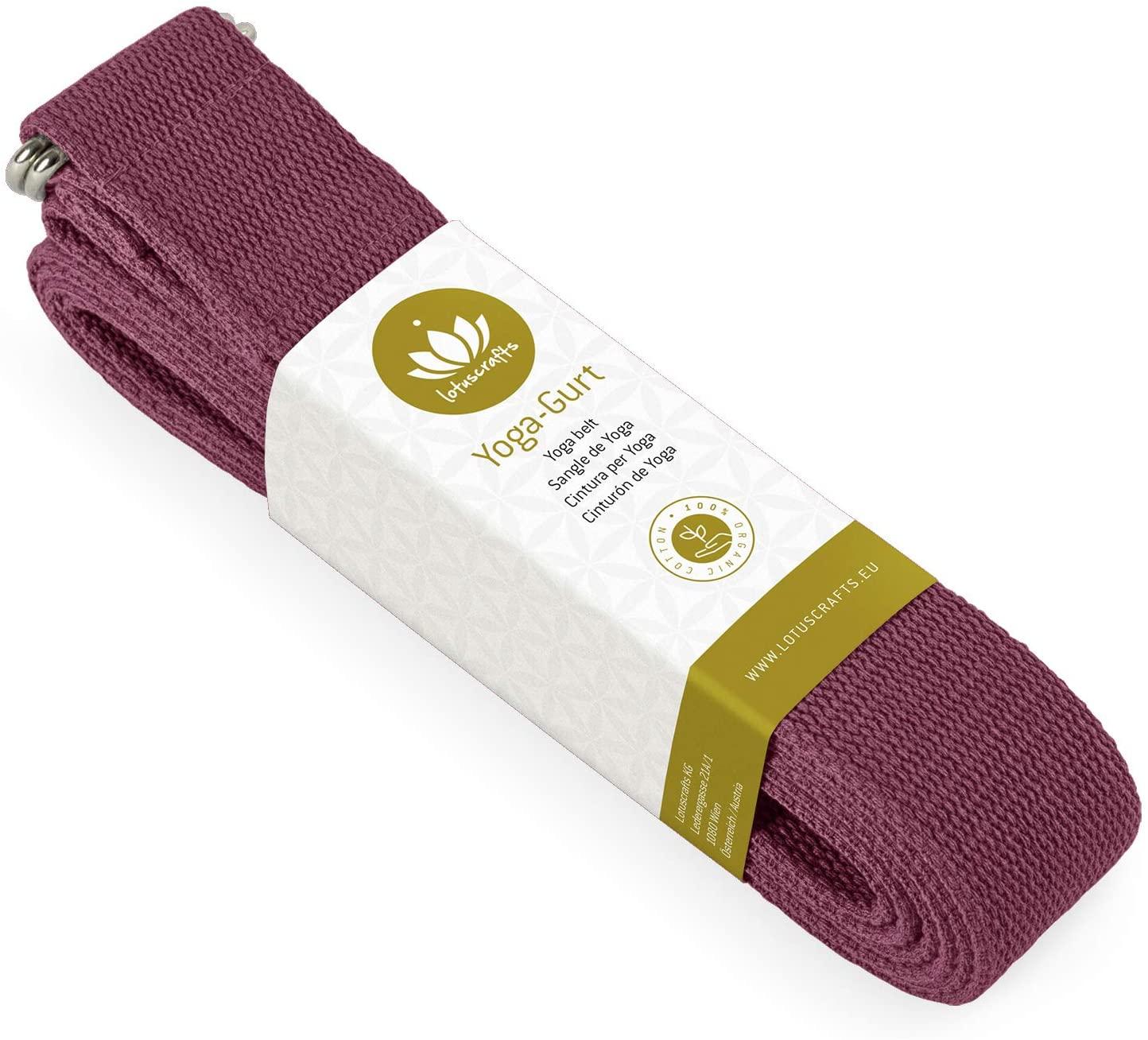 Lotuscrafts Yoga Cinturon Algodon - 100% Algodon (Cultivo Biológico) - Correa Yoga Algodon para Mejores Estiramientos - Cinturón de Yoga con...