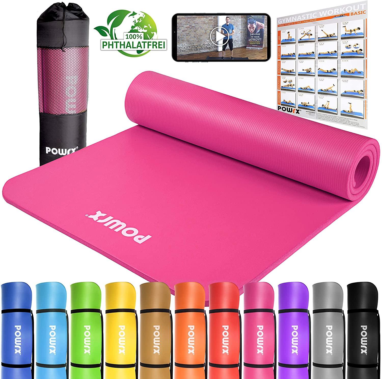 POWRX - Colchoneta Fitness Antideslizante 190 x 60, 80, 100 cm - Esterilla Ideal para Yoga, Pilates y ginnasia - Extra Suave y Grosor de 1,5 cm -...